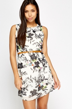 White Tropical Shift Dress