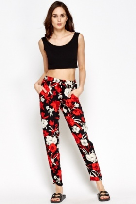 Black Multi Floral Trousers