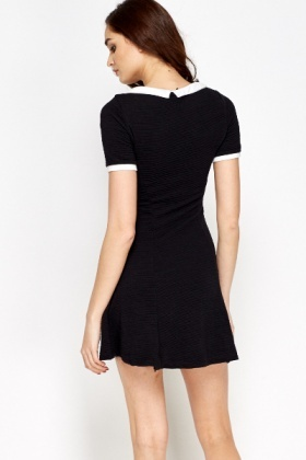 Contrast Collared Skater Dress