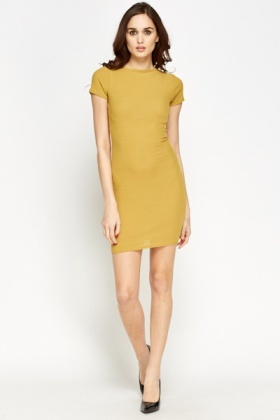 Mustard Ribbed Bodycon Dress