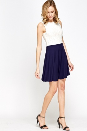 Lace Contrast Skater Dress