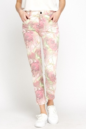 Light Pink Floral Treggings