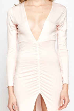 Light Pink Plunge Midi Dress