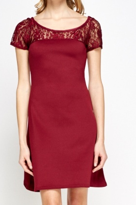 Maroon A-Line Dress