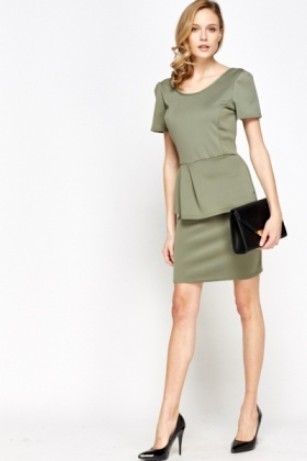 Olive Peplum Front Dress