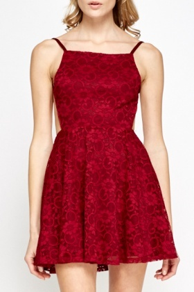 Open Back Lace Skater Dress