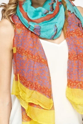 Red Multi Print Scarf