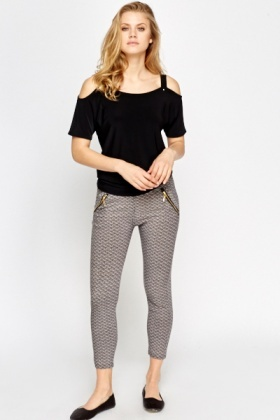 Geo Printed Zip Detail Leggings
