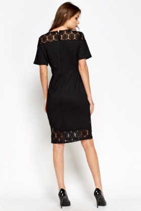 Lace Insert Textured Dress