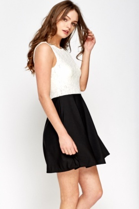 Mono Lace Contrast Skater Dress