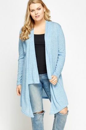 Asymmetric Sky Blue Open Front Cardigan