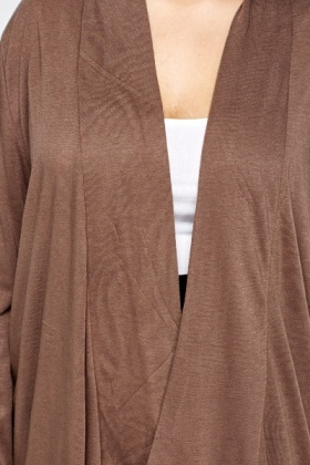 Brown Lapel Front Cardigan