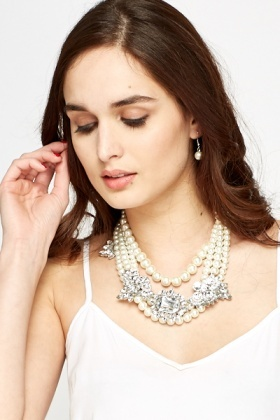 Diamante Statement Pearl Necklace And Earrings Set