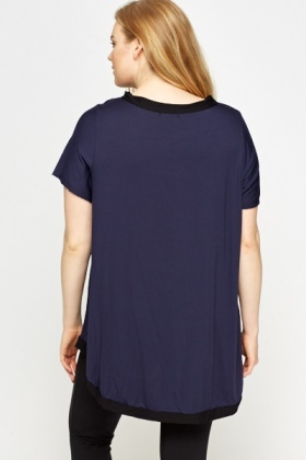 Navy Contrast Trim Top