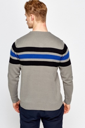 Ribbed Grey Striped Jumper