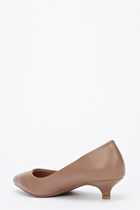 Faux Leather Pointed Low Heels