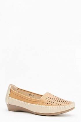 Perforated Wedge Loafers