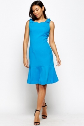 Blue Pleated Shoulder Ruffle Hem Dress