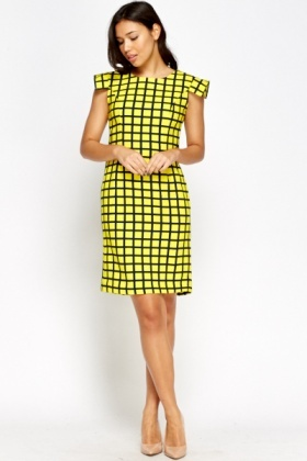 Grid Check Yellow Dress