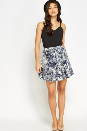 Navy Floral Swing Skirt