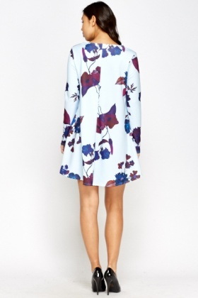 Sky Blue Floral Swing Dress