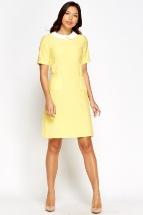 Yellow Collared Shift Dress