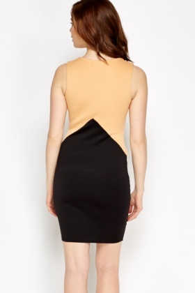 Camel Colour Block Bodycon Dress