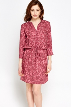 Casual Wine Multi Print Dress