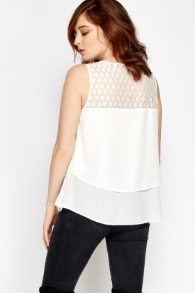 Crochet Back Ruffle Hem Top