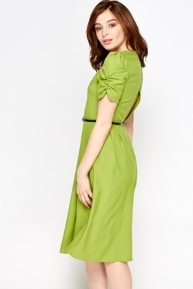 Green Belted Midi Dress