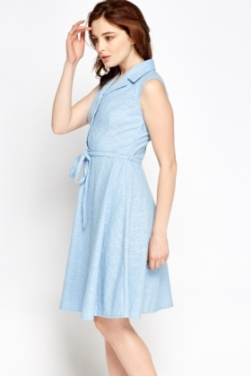 Light Blue Textured Skater Dress