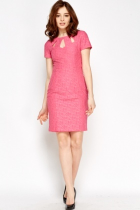 Pink Textured Pencil Dress