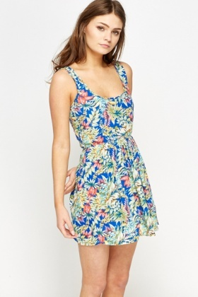 Tropical Print Skater Dress