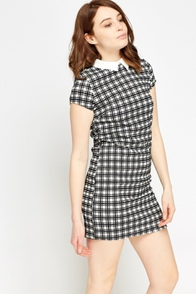 Collared Check Grid Dress