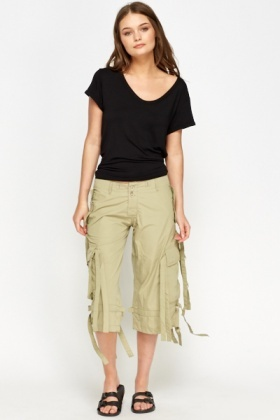 Khaki Cropped Strappy Trousers