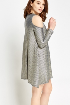 Metallic Houndstooth Cold Shoulder Dress