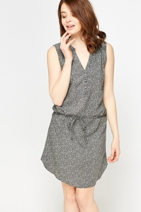 Mono Button Up Shirt Dress