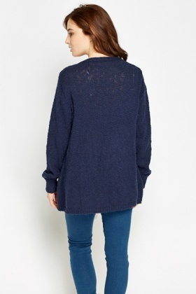 Navy Thick Losse knit Cardigan