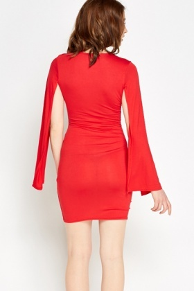 Red Cape Sleeve Bodycon Dress