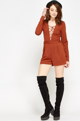 Rust Lace Up Playsuit