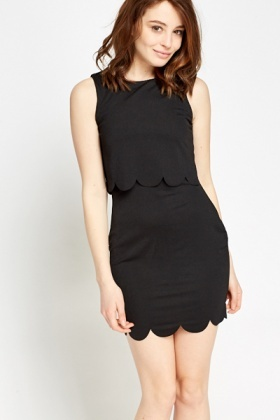 Scallop Overlay Black Dress