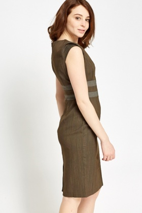 Stripe Panel Pencil Dress
