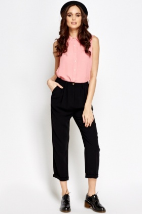 Black High Waist Cropped Trousers