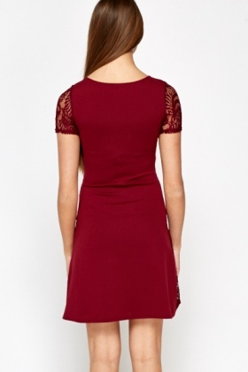 Burgundy Lace Side Swing Dress