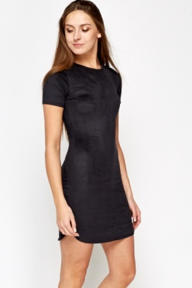 Curved Hem Velour Dress
