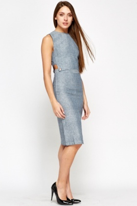 Cut Out Button Detail Dress