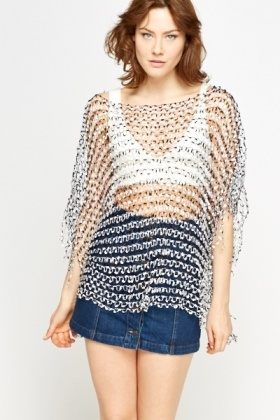 Fringed Netted Beach Cover Up Poncho