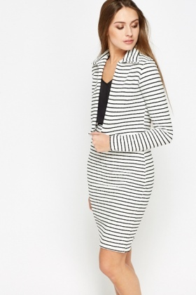 Mono Stripe Pencil Skirt