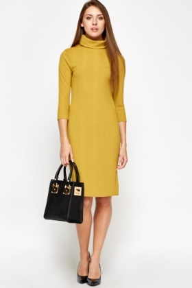 Mustard Ribbed Turtle Neck Dress