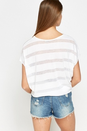 Striped White Batwing Top